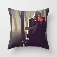 sin city Throw Pillows featuring Sin City woods by Sam Daley