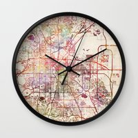denver Wall Clocks featuring Denver by MapMapMaps.Watercolors
