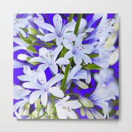 DECORATIVE WHITE GARDEN FLOWER PATTERNS ON BLUE ART Metal Print