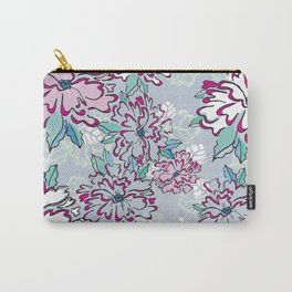 Blue Fresh Florals Carry-All Pouch