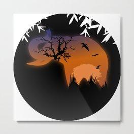 Elephant   Safari   Sunset Metal Print