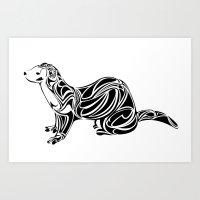 ferret Art Prints featuring Ferret Design by Tara Prince