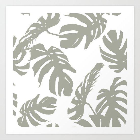 Simply Retro Gray Palm Leaves on White Art Print