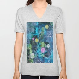 Abstract Floating Circles Unisex V-Neck