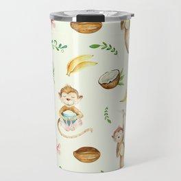 Tropical hand painted floral monkeys coconut pattern Travel Mug
