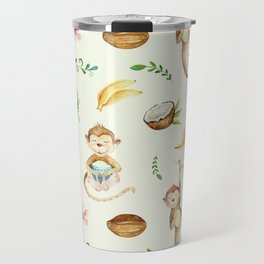 Tropical hand painted floral monkeys coconut pattern Travel Mug