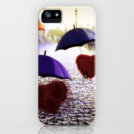 Three Lonely Hearts In the Rain iPhone Case