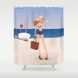 Fashion model at the beach Shower Curtain