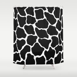 Trendy modern black white giraffe animal print Shower Curtain