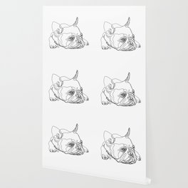 French Bulldog Puppy One Line Drawing Wallpaper