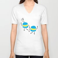macaron V-neck T-shirts featuring Dancing macaron by Cindys