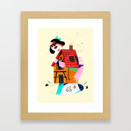 Girl in House Framed Art Print