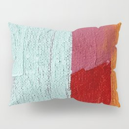 Desert Daydreams [2]: a vibrant, colorful abstract acrylic piece in pink, red, orange, and blue Pillow Sham