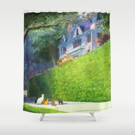 Cat Pilot on a Green Hedge Shower Curtain