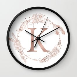 Letter K Rose Gold Pink Initial Monogram Wall Clock