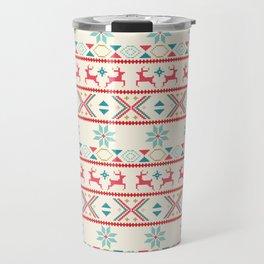 Fair Isle Beige Red #Christmas Travel Mug