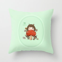 Mushroom girl Throw Pillow