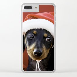 Christmas Dachshund Puppy Wearing a Santa Hat with Poinsettias Clear iPhone Case
