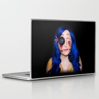coraline Laptop & iPad Skins featuring Gory Coraline by Janelle Jex