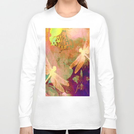 Dragonflies and Orchids QW Long Sleeve T-shirt