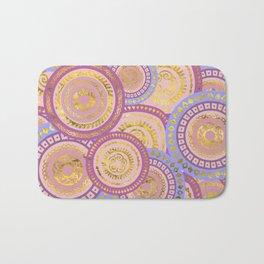 Circular Ethnic  pattern pastel gold purples, blue Bath Mat