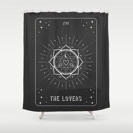 Minimal Tarot Deck The Lovers Shower Curtain