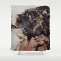 fear and loathing Shower Curtains featuring fear  by jen gossman illustration