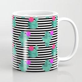 Cactus Stripes White Background Coffee Mug