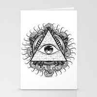 all seeing eye Stationery Cards featuring All Seeing Eye by E1 illustration