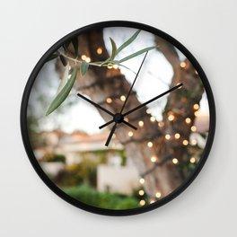 Olive Tree & Twinkle Lights Wall Clock