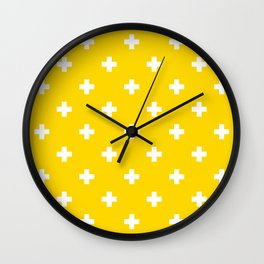 Swiss cross pattern on gold (color) Wall Clock