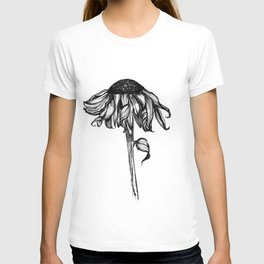 Wilted Flower Ink Drawing T-shirt