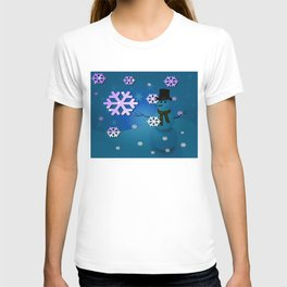 Snowman In A Snow Storm By Annie Zeno T-shirt