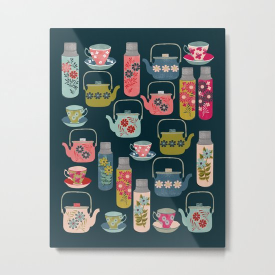 Vintage Thermos - Teacups and Teapots by Andrea Lauren Metal Print