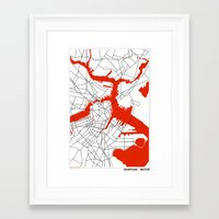 boston map Framed Art Prints featuring Downtown Boston Map by Studio Tesouro