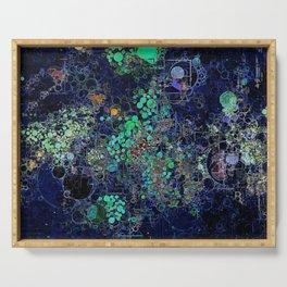 Dark Indigo Turquoise Abstract Design Serving Tray