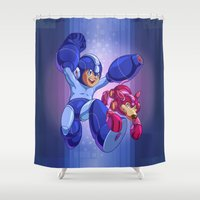 megaman Shower Curtains featuring  Classic Megaman by albertsurpower
