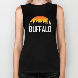 Sunset Skyline of Buffalo NY Biker Tank