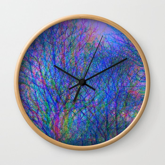 Blurred Winter Forest, blue Wall Clock