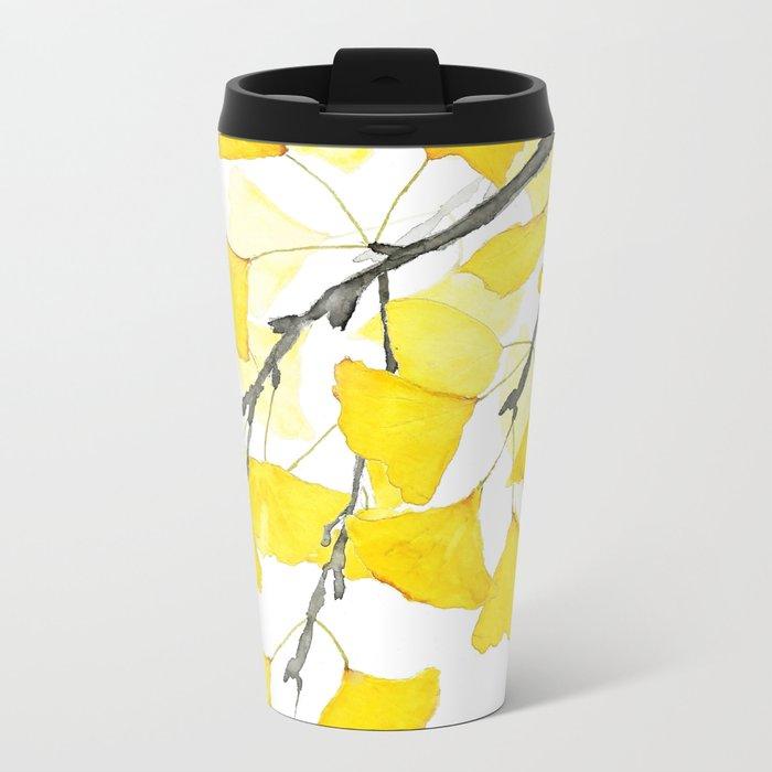 Golden Ginkgo Leaves Metal Travel Mug