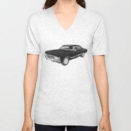'67 Chevy Impala (w/o background) Unisex V-Neck