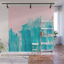 Bright Teal Painted Brushstrokes on Pastel Pink Wall Mural