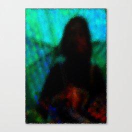 la signora al riparo dalla pioggia Canvas Print