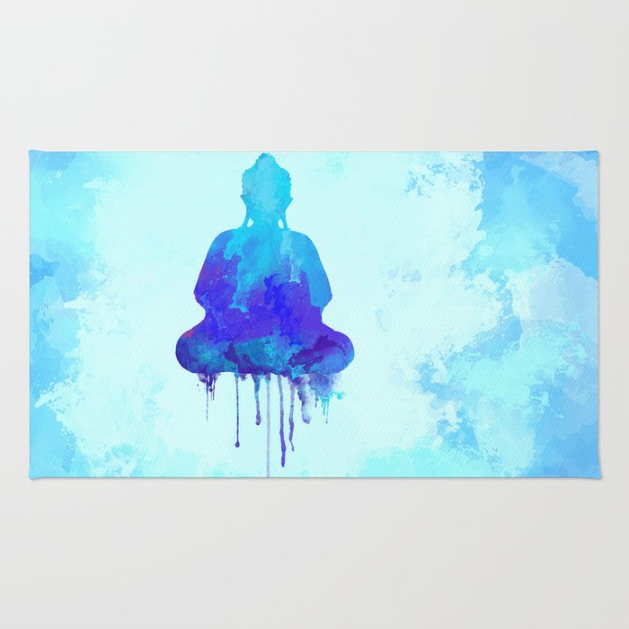 Watercolor zen Buddha blue Rug