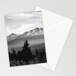 Morning in the Mountains Black and White Stationery Cards
