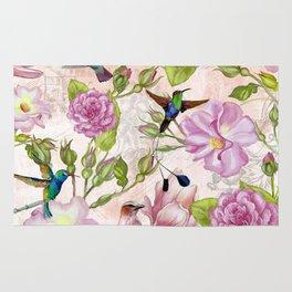Vintage Roses and Hummingbird Pattern Rug