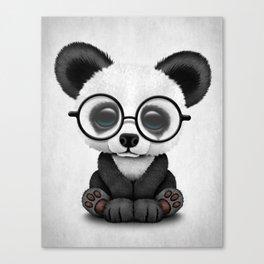 Cute Panda Bear Cub with Eye Glasses Canvas Print