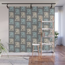 Mid Century Horse Pattern Grey Blue and Beige Wall Mural
