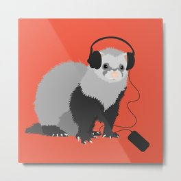 Music Loving Ferret Metal Print