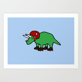 Roller Derby Triceratops Art Print